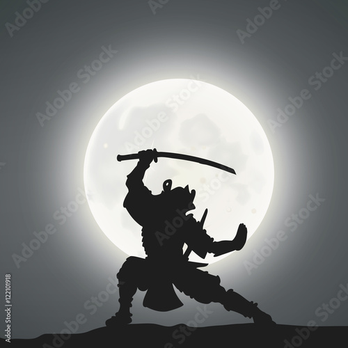 A Samurai Under The Moonlight Poster