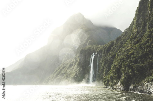 Printed kitchen splashbacks Khaki Stirling Falls , Milford Sound, Fiordland, South Island of New Zealand