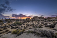 Desert Scene Turing Into Night During Sunset Also Called Golden Hour
