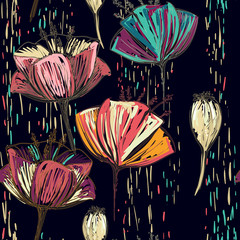 Fototapeta Tulipany Vector colorful tulips on the black background