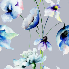 Panel SzklanySeamless wallpaper with blue flowers