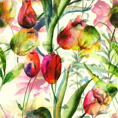 FototapetaSeamless wallpaper with Tulips flowers