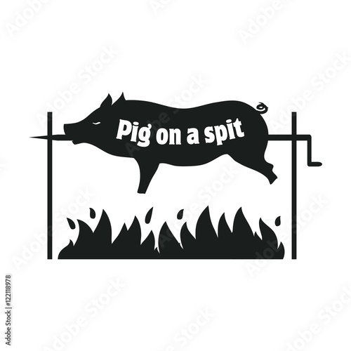 Valokuvatapetti Grilled pig. Pig on spit. Roasting piglet. BBQ pork. Icon.