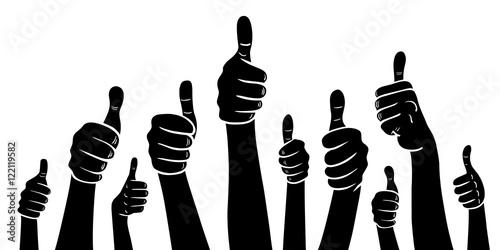Valokuva  Set: Viele Hände mit Daumen hoch / Vektor-Illustration, schwarz-weiß, freigestel