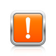 Exclamation point – Glossy orange metal button with reflection