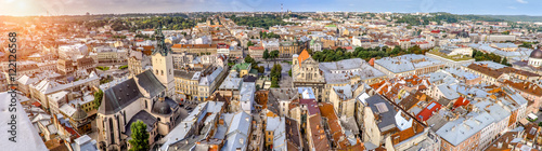 Deurstickers Oost Europa Panorama of the city airview of Lviv Ukraine