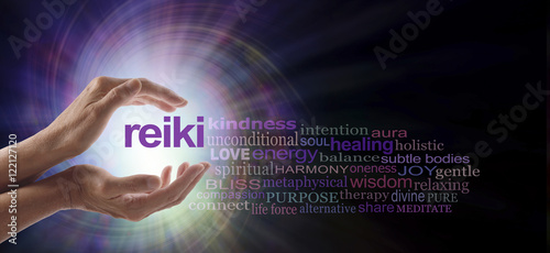 Reiki Vortex Healing Word Cloud - Female hands cupped around the word REIKI with Wallpaper Mural