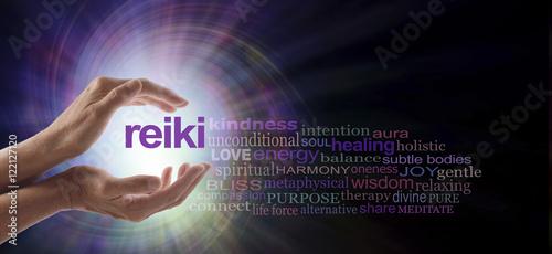 Reiki Vortex Healing Word Cloud - Female hands cupped around the word REIKI with Canvas Print