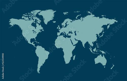 Türaufkleber Weltkarte world map blue flat design