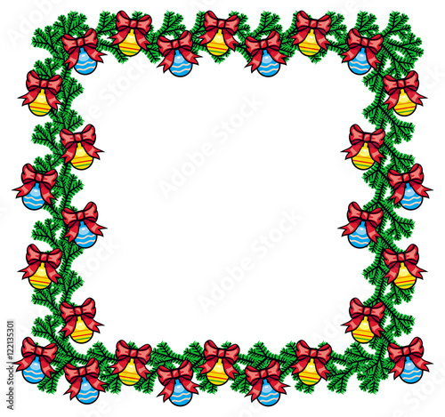 square frame with new year balls vector clip art