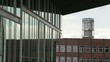 View from dokk1 to Aarhus City Hall tower with slider movement, Denmark