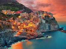 Italien Manarola Ligurien Riviera Dorf Am Mittelmeer Landschaft