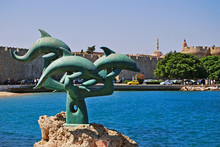 The Dolphin Statue In Rhodes