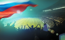 Crowded Stadium With Russian F...
