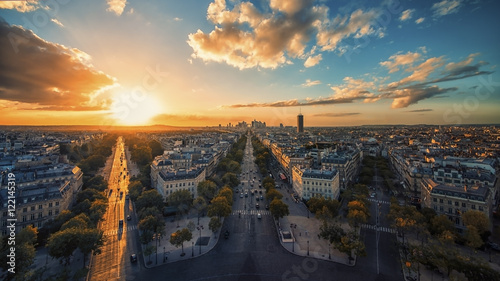 Sunset over Champs-Elysees and La Defense in Paris Wallpaper Mural