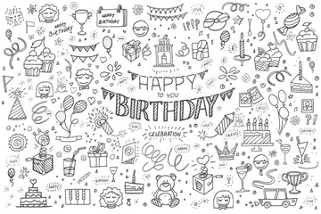 Happy birthday hand drawn vector illustration. Party and celebration design balloon, gifts, fireworks, ribbon, confetti, cake drinks