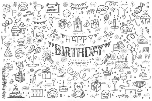 Obraz Happy birthday hand drawn vector illustration. Party and celebration design balloon, gifts, fireworks, ribbon, confetti, cake drinks - fototapety do salonu