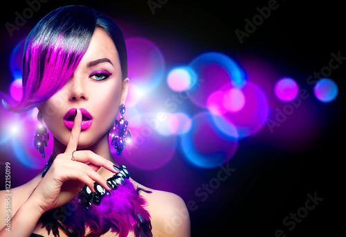 Poster - Sexy beauty fashion woman with purple dyed fringe hairstyle isolated on black background