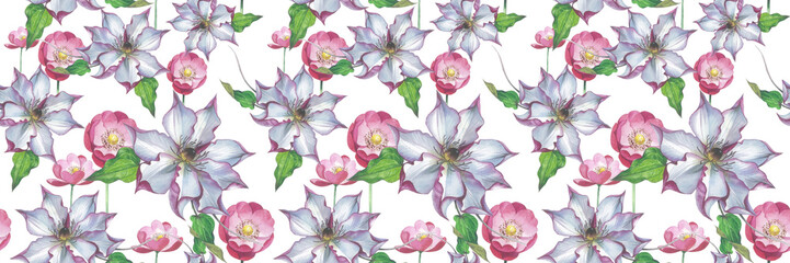 Panel SzklanyWildflower clematis flower pattern in a watercolor style isolated. Full name of the plant: clematis, wisteria. Aquarelle flower could be used for background, texture, pattern, frame or border.