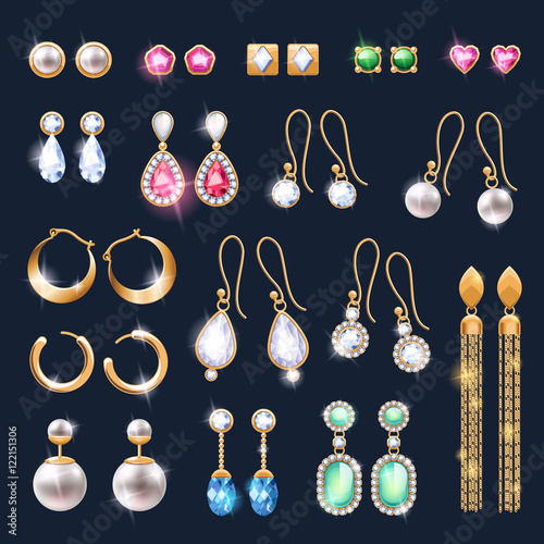 Canvas Print Realistic earrings jewelry accessories icons set.