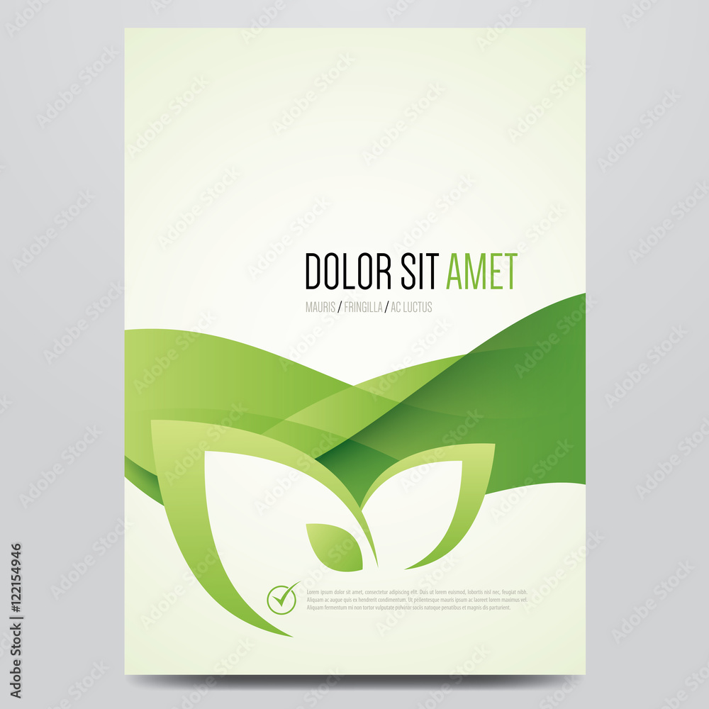 Fototapeta Green eco brochure, flyer, magazine cover, poster template. Modern vector leaf, environment design.