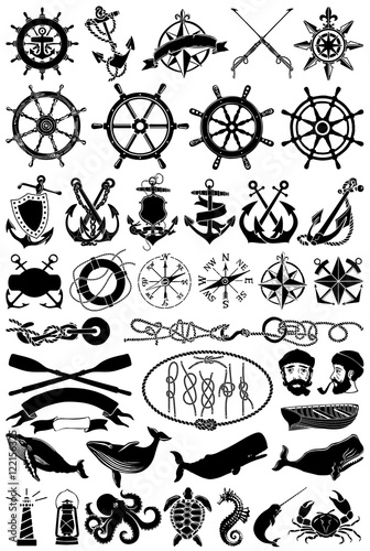 Fotografía  Vintage vector maritime clip art, nautical icons and design elements collection
