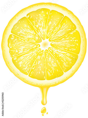 illustration of a lemon slice with juice dripping buy this stock