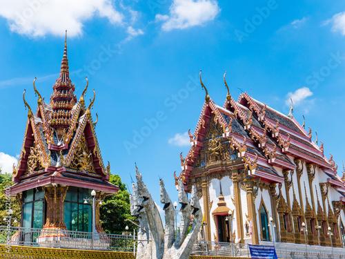 Deurstickers Bedehuis Thai Temple against Blue Sky