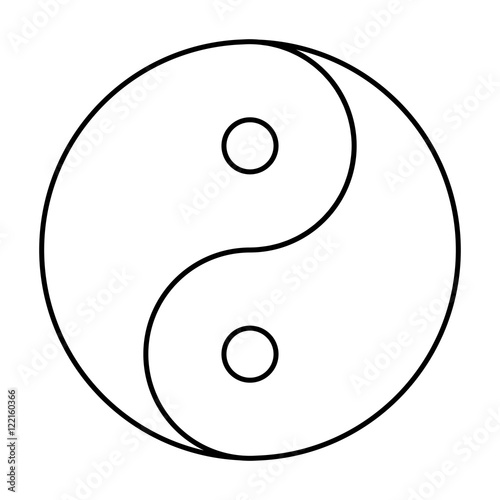 Fotografering  Yin Yang symbol black outline
