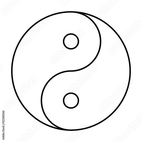 Fényképezés  Yin Yang symbol black outline
