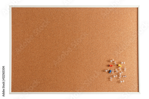 Cork board with pins isolated on white background - Buy this