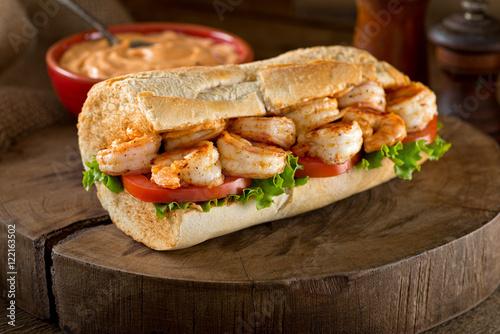 Staande foto Snack Shrimp Po Boy Sandwich