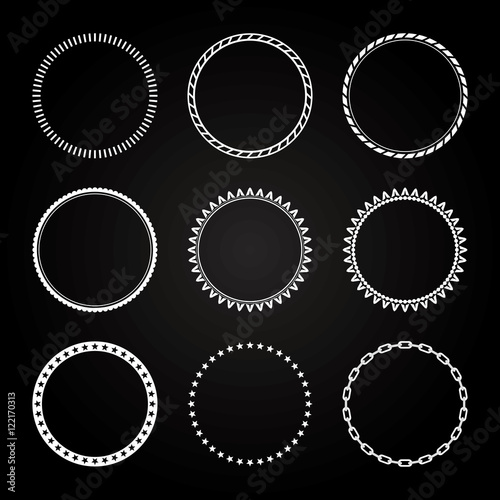 Fotografie, Obraz  Collection of  different styles of Circle Frame and border