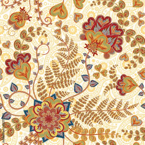Fotografie, Obraz  Ornate fantasy flowers seamless paisley pattern
