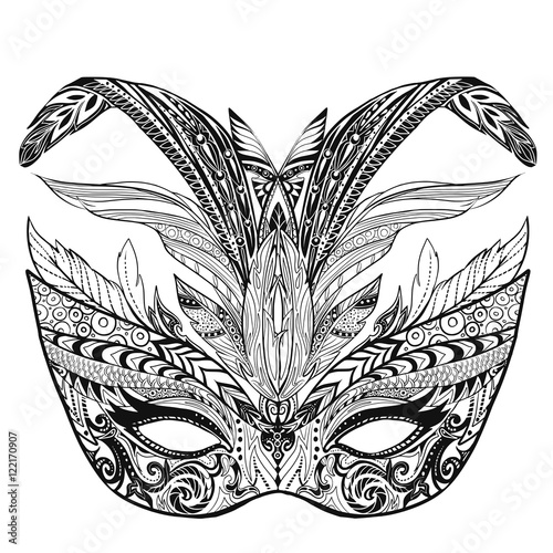 Hand Drawn Doodle Carnival Mask Page Illustration For Adult Coloring Book It Can Be Used For Tattoo Or Print On T Shirt Vector Illustration Stock Vector Adobe Stock