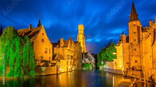 Wall Murals Bridges Bruges, Belgium - Canal City like Venice Italy - Beautiful Long Exposure