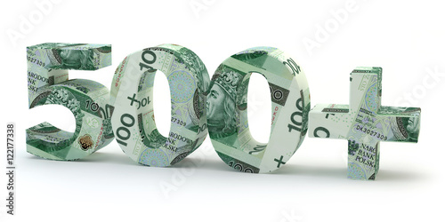 Fotografia  500 plus - napis z banknotów