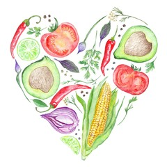 Panel Szklany Watercolor Vegetable Heart