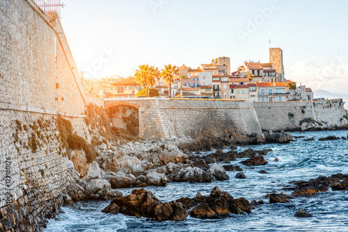 Landscape view on the old coastal village and fortification of Antibes on the fr Canvas Print