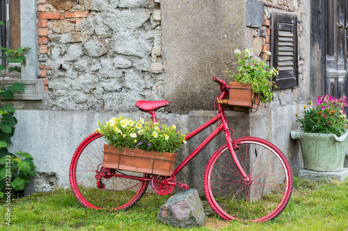 Aluminium Prints Bicycle Decorative bicycle equipped basket flowers garden, red bicycle,