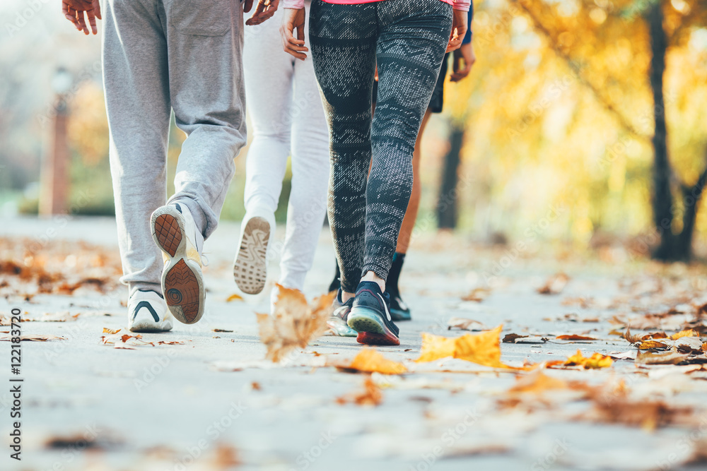 Fototapety, obrazy: Group of friends in sportswear walking at the park on beautiful day.Autumn concept.Rear view.Only legs are visible.