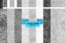 Handdrawn Black And White Patterns Set. Fur Or Leaves Seamless Black And White Patterns