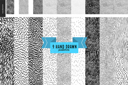 obraz PCV Handdrawn black and white patterns set. Fur or leaves seamless black and white patterns