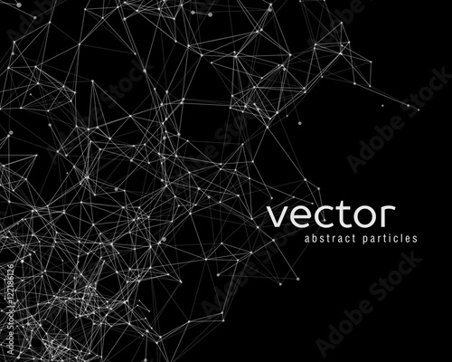 Vector background with abstract particles. Wall mural