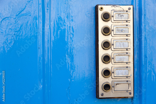 Fotografie, Obraz  Board with doorbells. Great Britain