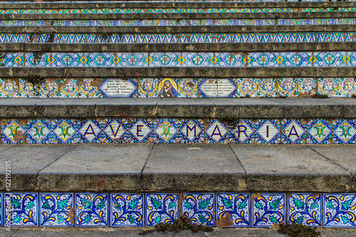 The stupendous scale detail of caltagirone sicily . all decorated
