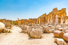 Great Court Of Baalbek In Beqaa Valley, Lebanon. Baalbek Is Located About 85 Km Northeast Of Beirut And About 75 Km North Of Damascus. It Has Led To Its Designation As A UNESCO World Heritage Site.