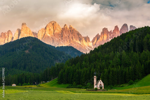 Photo  St Johann Church, Val Di Funes, Dolomites, Italy