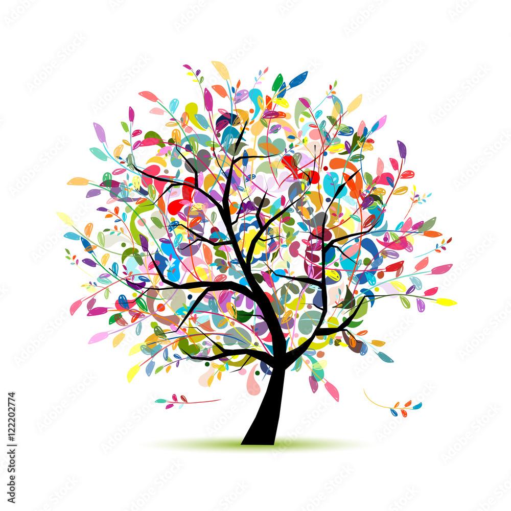 Fototapeta Colorful art tree for your design