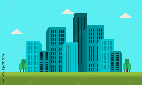 Spoed Foto op Canvas Turkoois Town skyline landscape of silhouette